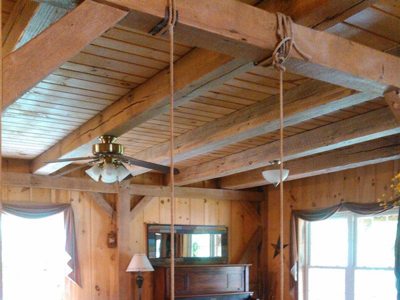 Reclaimed beams in the home as a ceiling support